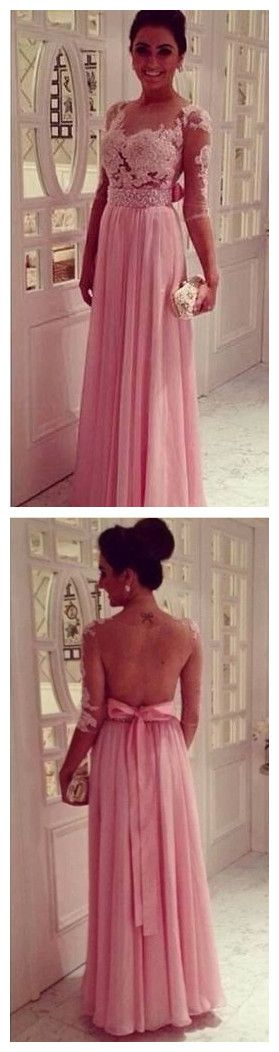 Pink Beaded Prom Dress,Half Sleeve Prom Dresses,Evening Dress