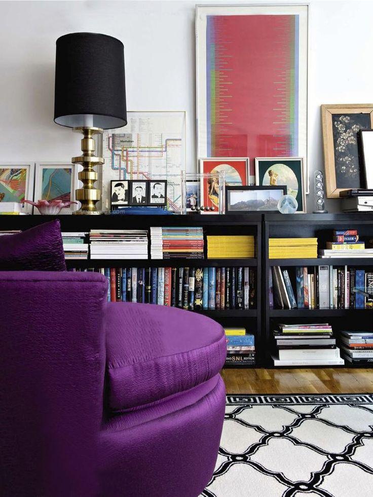 : Black Bookshelves, Chic Books, Armchair Traveler, Black Bookshelf, Bookshelves Library, Bewitching Bookshelves, Low Bookcases, Bookshelves Stacked, Bookshelves Lamp