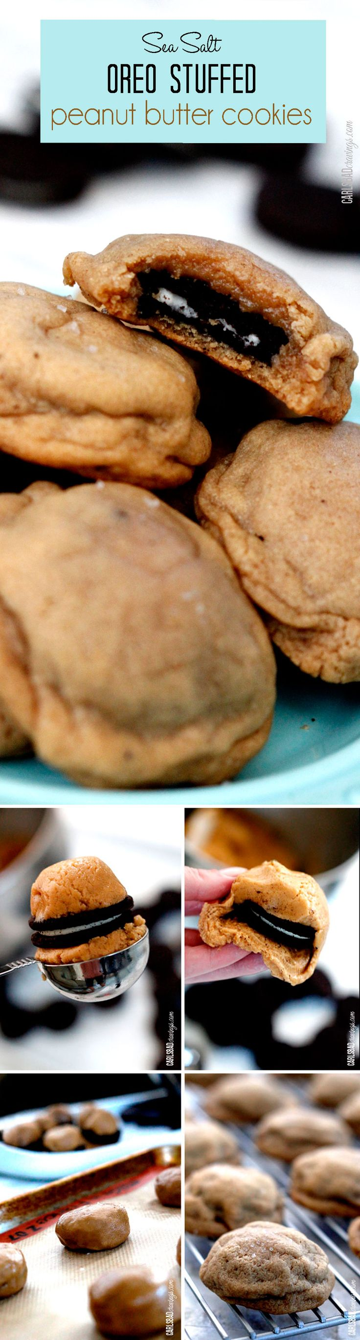 Sea Salt Oreo-Stuffed Peanut Butter Cookies -- soft and chewy peanut butter cookies with soft, melty Oreos inside balanced by savory sea salt. Such a fun cookie to bring to friends and parties! http://www.carlsbadcravings.com/sea-salt-oreo-stuffed-peanut-butter-cookies/