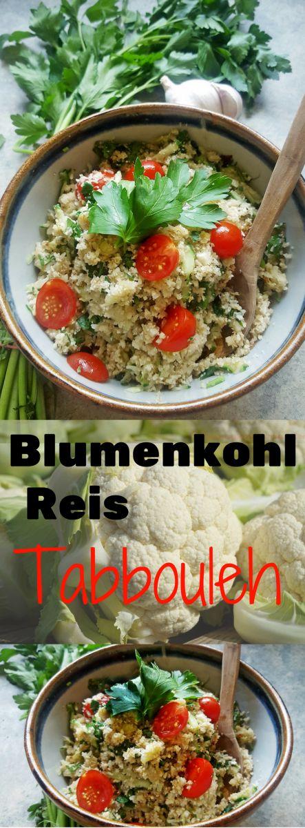 Blumenkohl Reis Tabouleh - Low Carb, Paleo & Kalorienarm. Die  lowcarb Version des beliebten libanesischen Bulgursalates Tabouleh mit Blumenkohl Reis statt Bulgur. Ein genialer Trick zum Kaloriensparen !