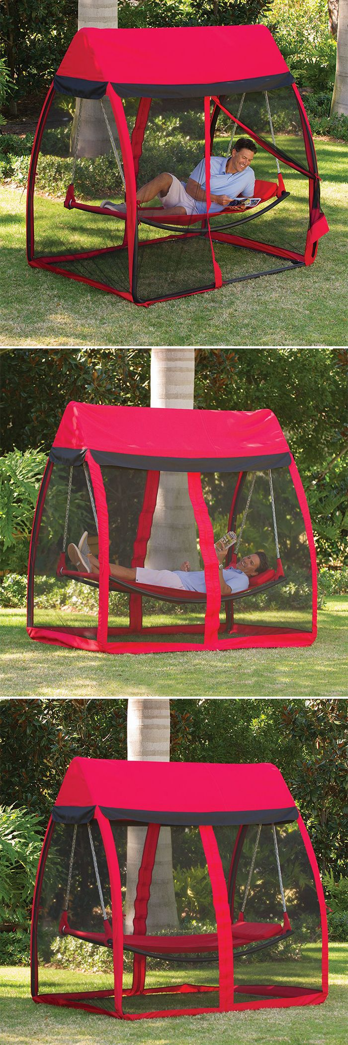 This is the hammock that shields you from pesky mosquitoes and insects while you sway comfortably. The hammock is covered by a canopy with four sides comprised of super-fine, nylon netting that keeps out mosquitoes while still allowing cooling cross breez d'autres gadgets ici : http://amzn.to/2kWxdPn
