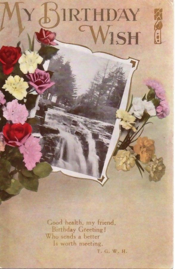Vintage My Birthday Wish Gold Trim Postcard - Blueberry Creek Gift Baskets