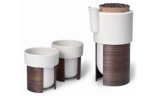 "Tonfisk Warm Tea Set, ""sturdy ceramic cups and teapot with removable bracelets made of bent laminated wood"". I drink tea on a daily basis and regularly make tea for my roommate and friends who visit, so this would be perfect!"
