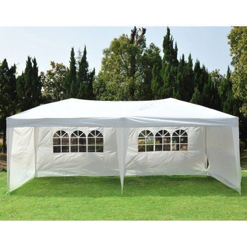 Outsunny White 10 X 20 Pop Up Canopy Tent With Sidewalls Aosom Com Pop Up Canopy Tent Outdoor Tent Party Canopy