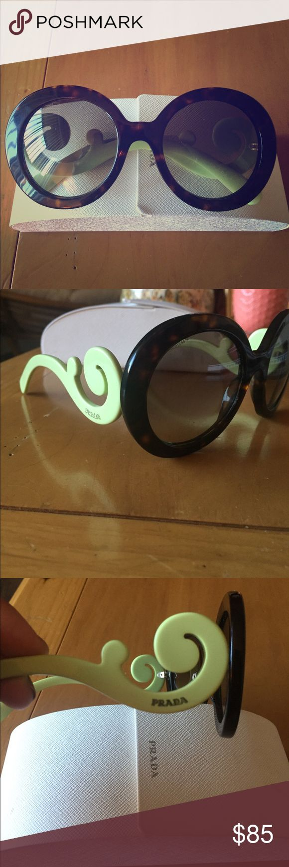 Tortoise and light green Prada baroque sunglasses One very small unnoticeable scratch on lens. I've only worn these a few times so they're in great shape! Comes with Prada case. Prada Accessories Sunglasses