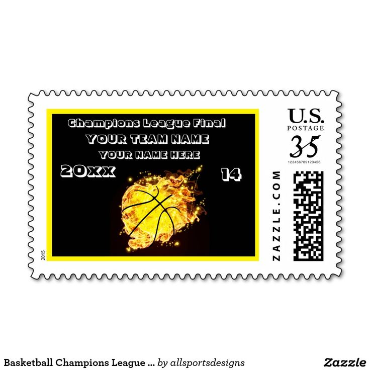 Basketball Champions League Final In Yellow Postage Stamps  Custom black and yellow and white stamp. With a basketball in the center with flames going out of the ball. you have a place for your Name of player's, Number of jersey, Name of team, and the Year on it. black and yellow and white stamp.The yellow text can be changed as well to your team colors. This stamp is great for a gift. Delete any or all text.