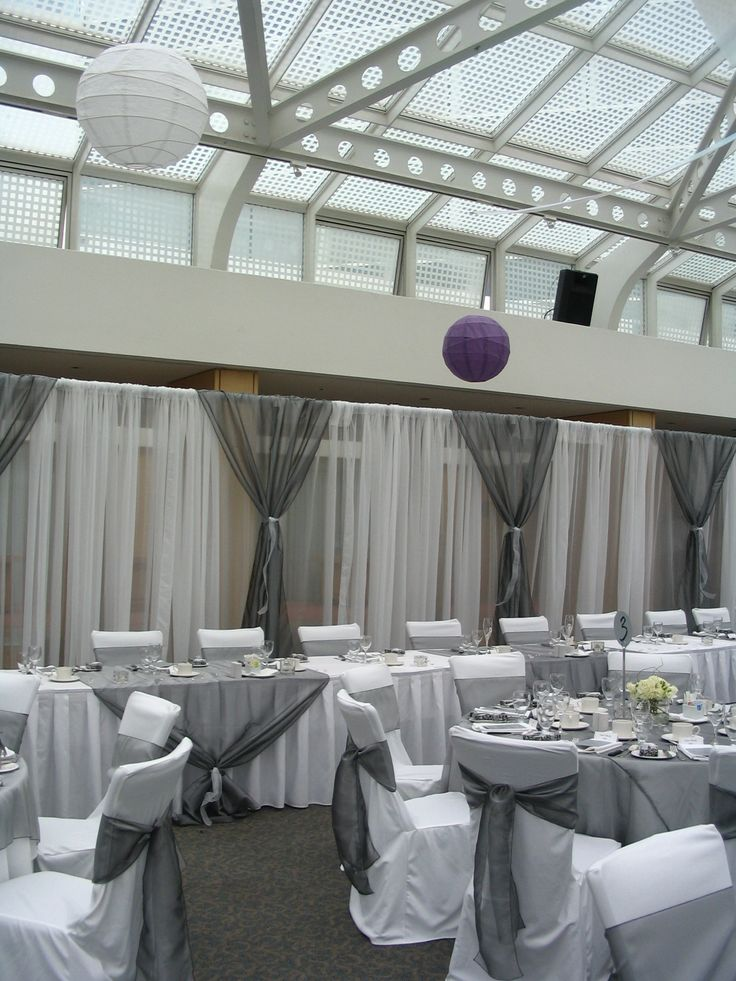 Grey Wedding Head Table With Pipe Draping