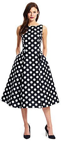 $199, Adrianna Papell Polka Dot Tea Length Dress. Sold by Dillard's. Click for more info: https://lookastic.com/women/shop_items/422917/redirect