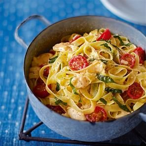 Fettuccine with melting Brie, cherry tomatoes and basil Recipe   delicious. Magazine free recipes