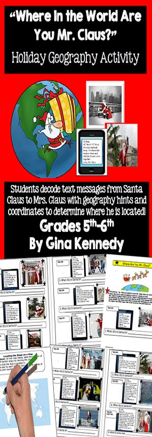 Where's Santa, Holiday-Christmas World Geography Fun! Students decode Mr. Claus's text messages to Mrs. Claus to determine his whereabouts from around the world. Using photos, written hints and latitude and longitude clues, the students will identify and record the location (city) of Santa Claus at each stop. Finally, students will label a world map identifying which cities from around the world Santa Claus traveled to.$