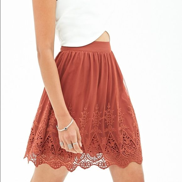 F21 Detailed Skirt Worn once, in great condition. Has a slip underneath! Great for any season. No trades, please. Forever 21 Skirts