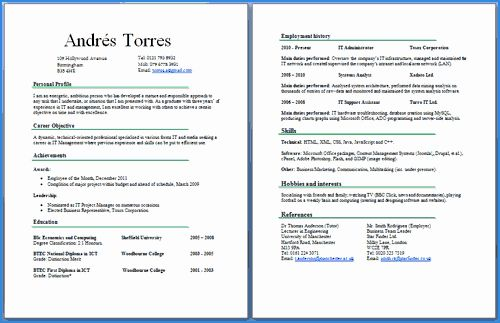 2 Page Resume Examples Unique Cv Two Pages Example Good Resume Examples Resume Examples One Page Resume Template