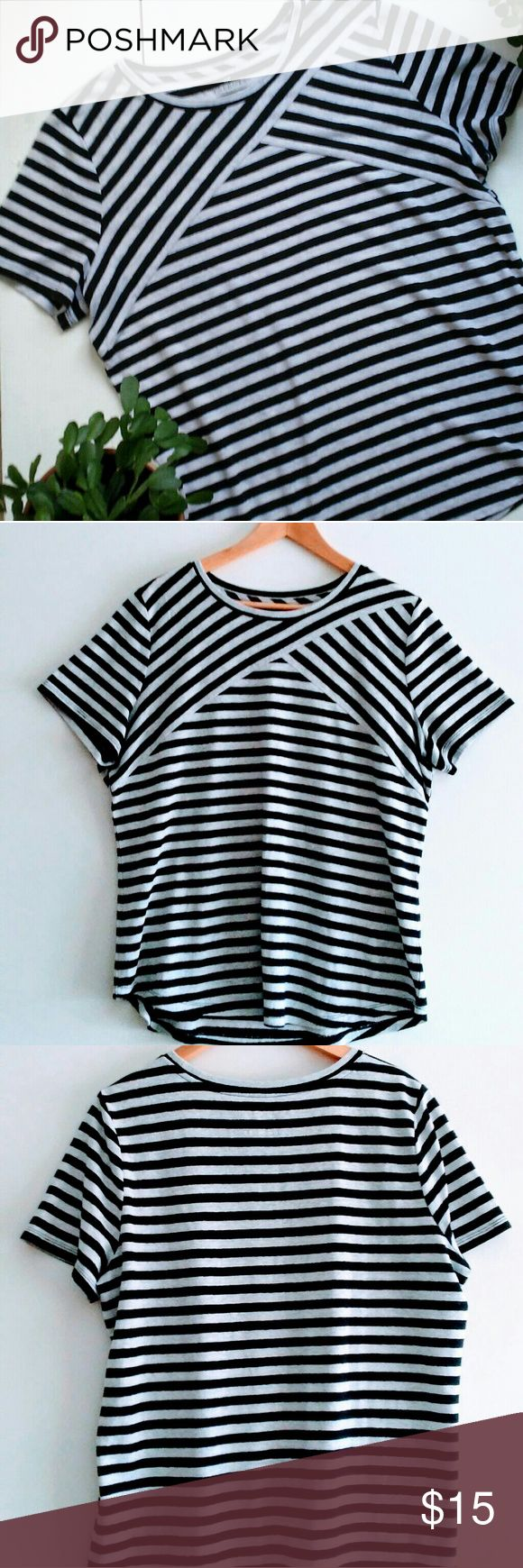 Talbots Woman linen gray & black striped tee Lovely lightweight tee with fun bias striped yoke design. Perfect for summer! Soft and relaxed fit that falls to the hip. Heather gray and black 55% linen/45% polyester fabric. Talbots Tops Tees - Short Sleeve
