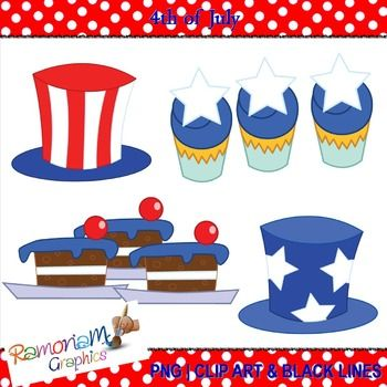 Free set of July 4th party items: 12 PNG images. Each image is 300dpi in Black & White, colored with colored outlines and colored with black outlines
