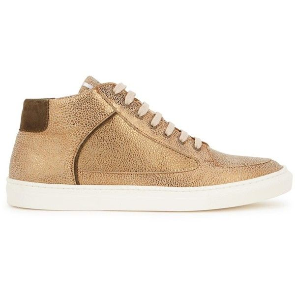 ROSE RANKIN Simmy gold suede hi-top trainers (290 CAD) ❤ liked on Polyvore featuring shoes, sneakers, high top shoes, polka dot sneakers, gold shoes, high top sneakers and grey high tops