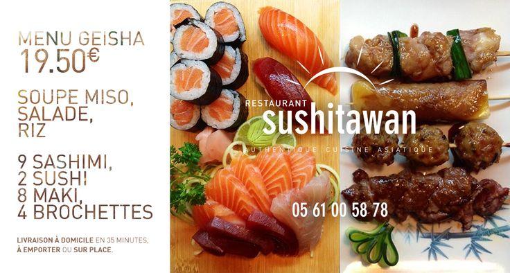 Le menu GEISHA du restaurant japonais sushitawan à Toulouse  https://facebook.com/sushitawan   #sushi #toulouse #japonais #cuisine #authentique #jap #restaurant