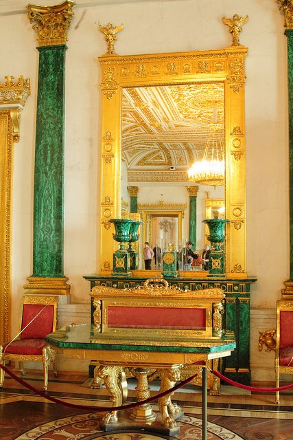 The Malachite Room, Winter Palace, St Petersburg, Russia