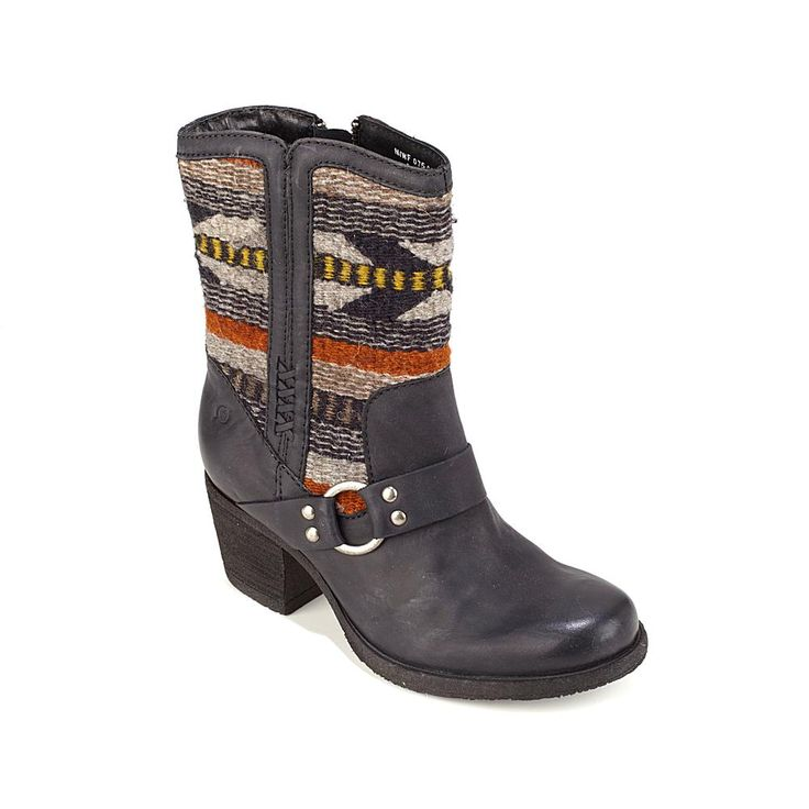 """Born® """"Panerea"""" Leather and Wool Aztec Boot - Black"""