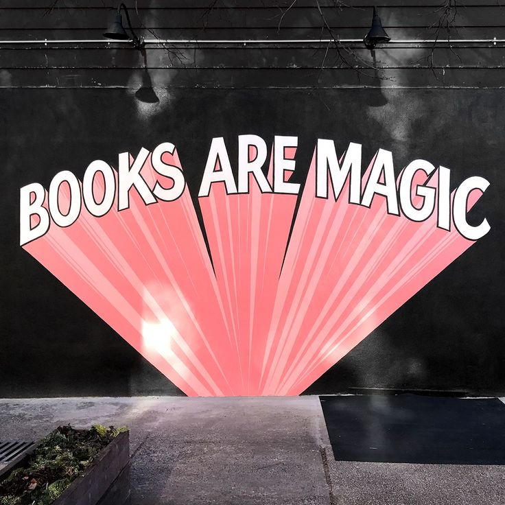 """Books are magic"" mural street art at Books Are Magic Bookstore, Brooklyn, NY"