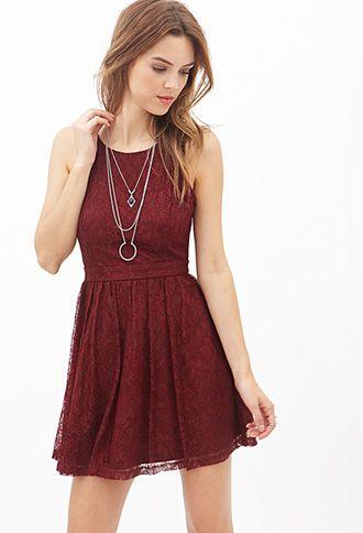 Crisscross-Back Lace Dress | FOREVER21 - 2000138098