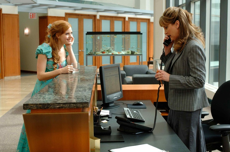 the secretary in Enchanted is Jodi Benson. aka Ariel's voice actor.