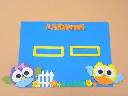 painel ajudante do dia Coruja para sala de aula www.petilola.com.br