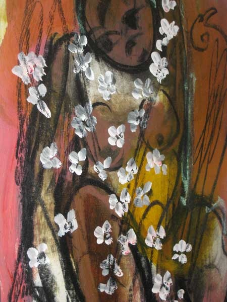 Woman with flowers and bird - Vader Claerhout
