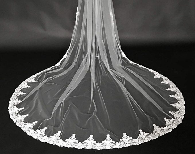 Cotton finish lace, Embroidered Lace Veil, Vintage lace veil, Cathedral lace veil, Chapel lace veil, Lace up to fingertip, bridal lace veil.
