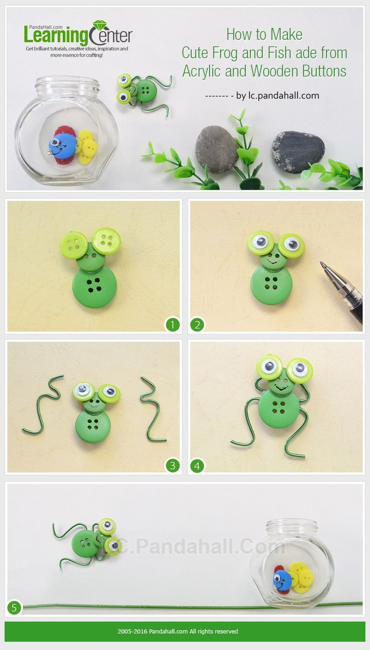 Tutorial on How to Make Cute Frog and Fish Made from Acrylic and Wooden Buttons from LC.Pandahall.com    #pandahall