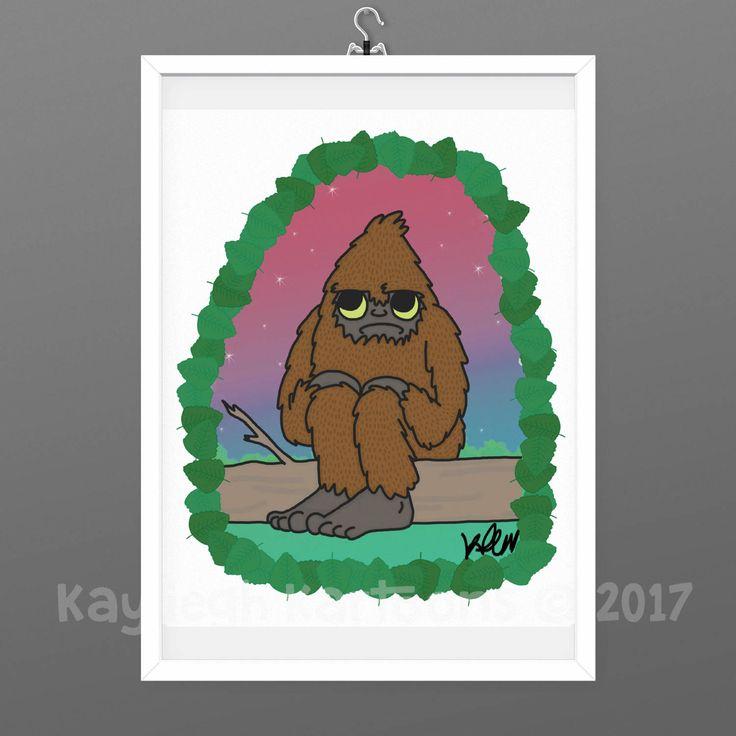 Sasquatch, illustration, art print, bigfoot, yeti, Nature art, cryptoid illustration, paranormal, cryptid, finding bigfoot, bigfoot believer by KaylieghKartoons on Etsy