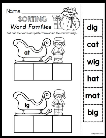 FREE Santa's Sleigh sorting word families - easy and fun cut and paste activity