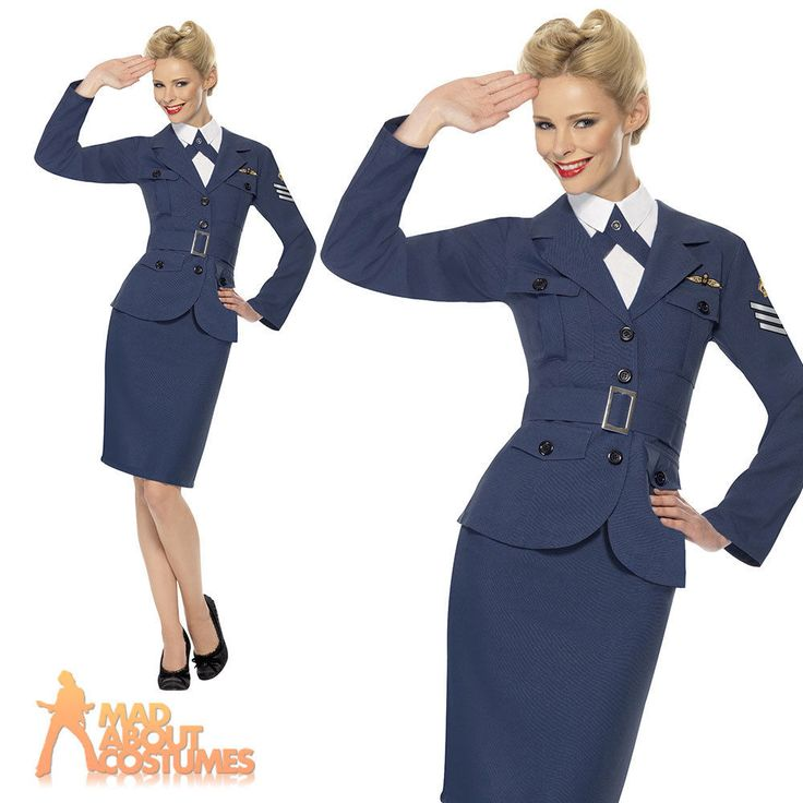 WW2 RAF Air Force Female Captain Costume Womens Wartime Fancy Dress Outfit 8-18