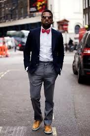 Bildresultat för navy blue suit bow tie cream pants