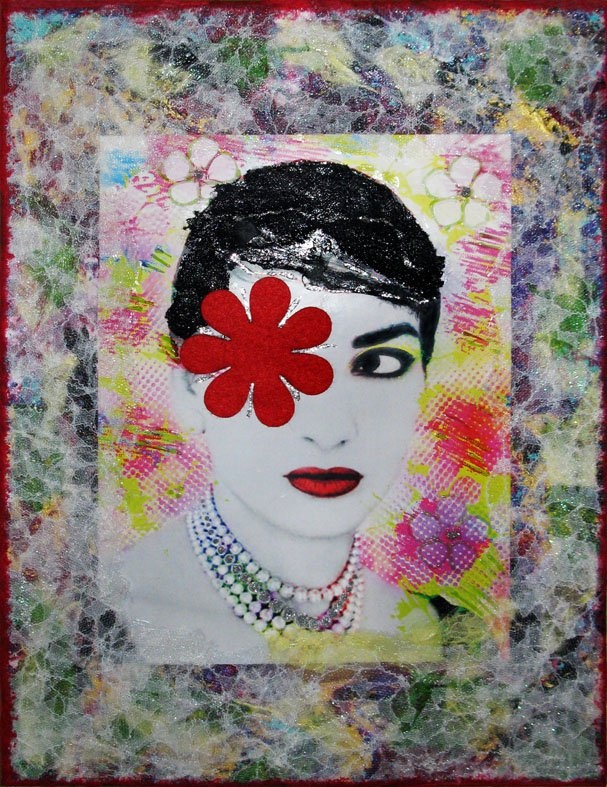 ''Maria Callas'' mixed media art on canvas 30x40 cm  materials: acrylics, lace, glitter glue, felt, photo manipulation