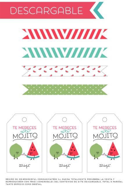 "Imprimible ""Te mereces este mojito"" y banderitas para pajitas de Mr Wonderful."