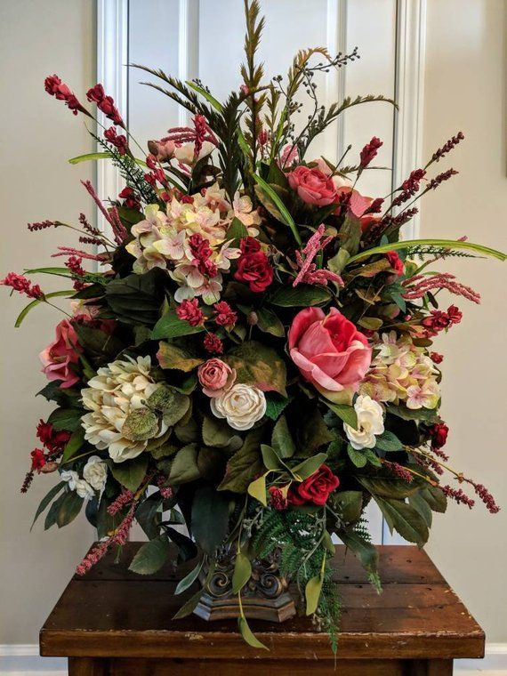 Large Elegant Floral Arrangement Dining Room Foyer Entry Etsy Church Flower Arrangements Large Floral Arrangements Flower Arrangements Simple