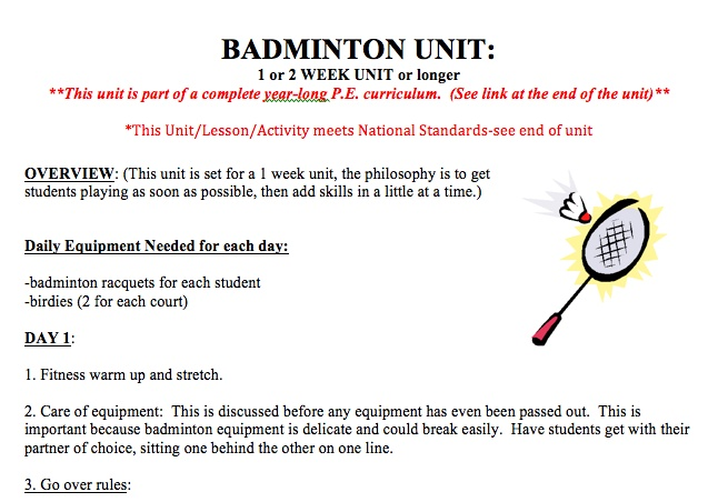 physical education rules of badminton Tossthe rules of badminton states that a toss shall be conducted before a game starts if you win, you can choose between serving first or to start play at either.