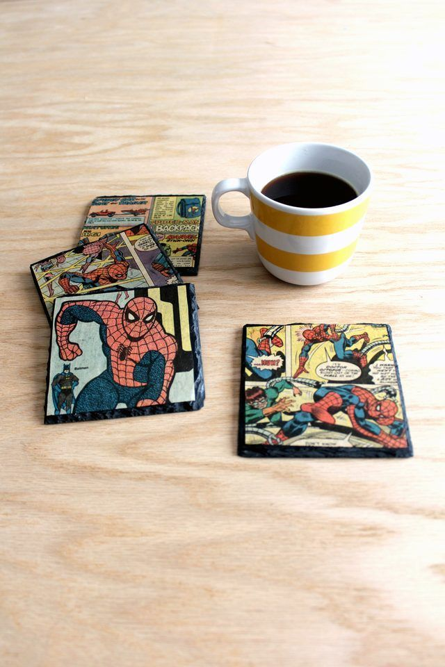 make one-of-a-kind coasters using slate tile and vintage comic books.