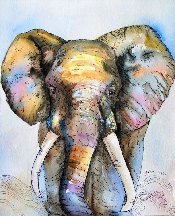 Elephant 8x10 Original Watercolor Nursery artChildren art by asho, $20.00