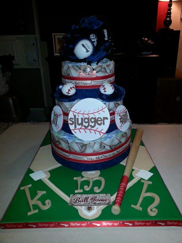 My first baseball diaper cake