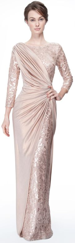 Metallic Jersey and Paillette Embroidered Lace ¾ Sleeve Gown in Rose Water…
