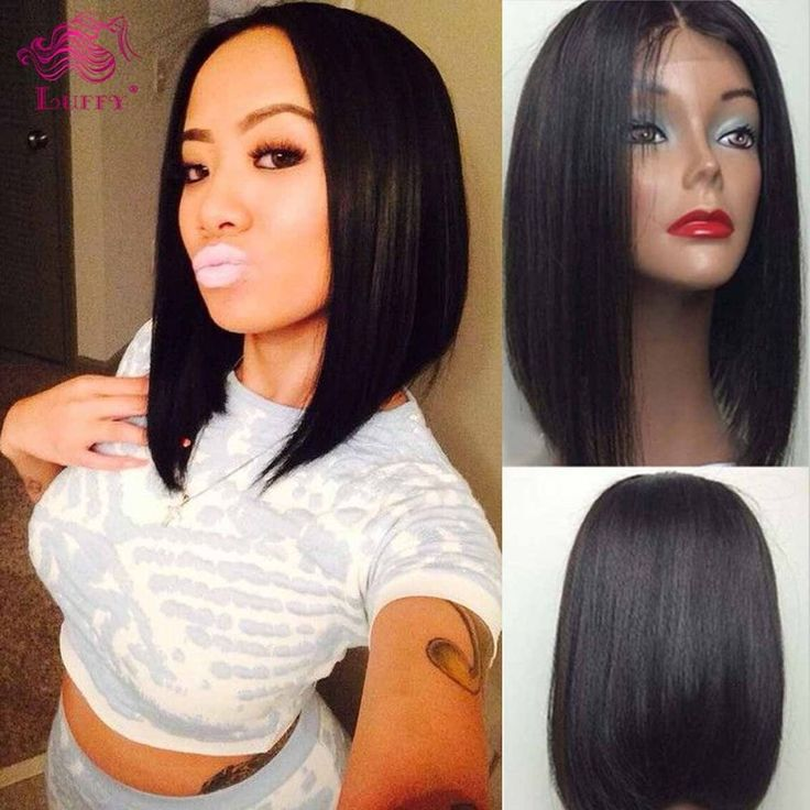 Lace Front Bob Wigs Brazilian Short Bob Cut Remy Human Hair Wigs For Black Women #Bob #LaceFrontWig