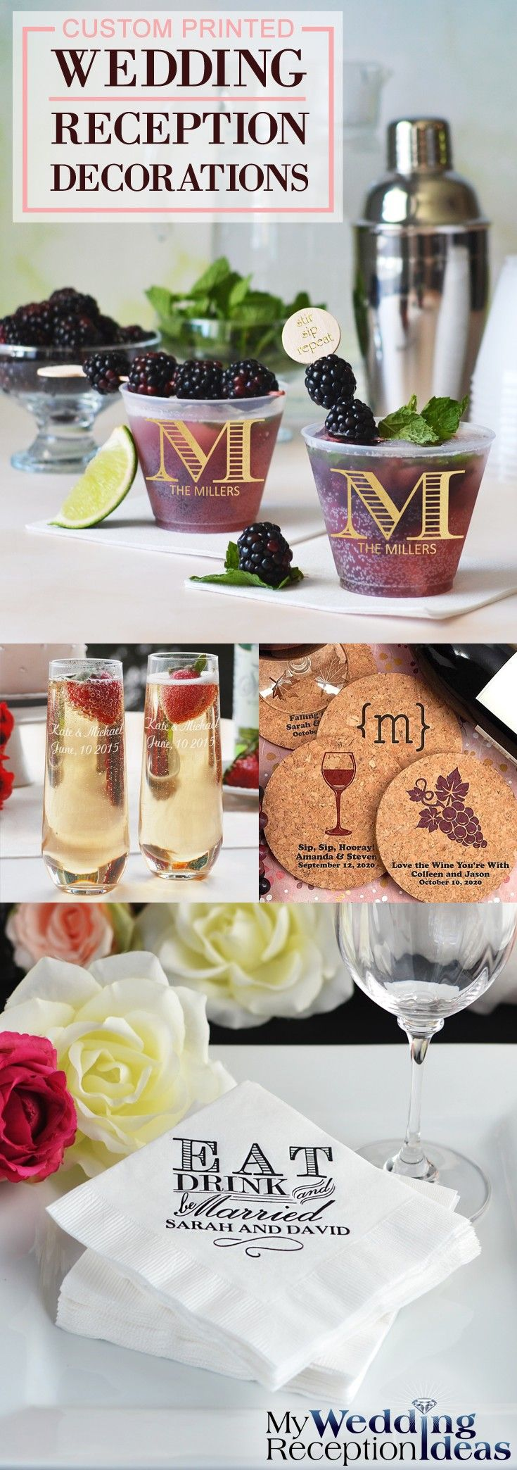 Add a personal touch to your wedding that is uniquely you with personalized wedding reception decorations. Cocktail napkins, coasters and cups custom printed with a wedding design or monogram, the bride and groom's name and wedding date and a short thank you message will make your wedding reception tables, bar, cake table and bridal table decor pop with character and impress each one of your guests. These wedding reception decorations can be ordered at https://myweddingreceptionideas.com/