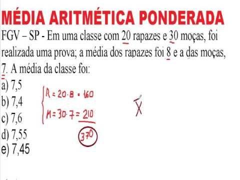 Média aritmética ponderada peso Raciocínio Lógico Matemático RLM Medida ... https://youtu.be/nORQtl4q_1Q