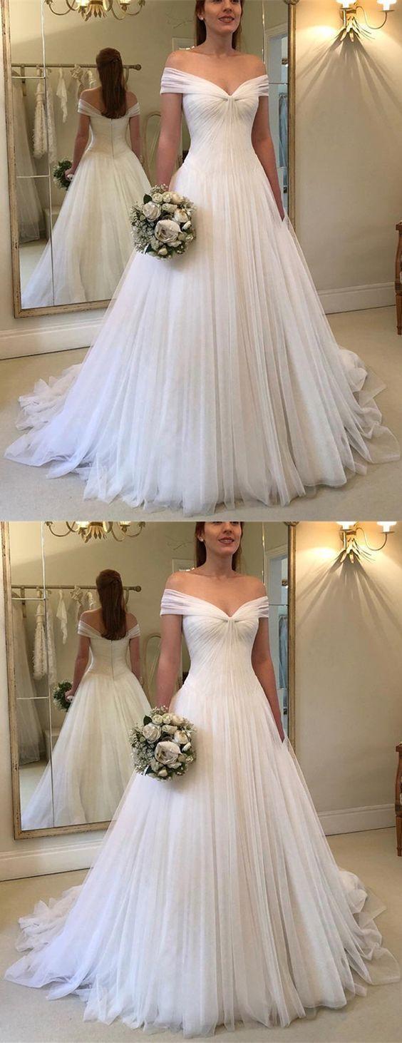 Off the Shouder A-line Tulle Wedding Dress,Fashion Zipper Back Bridal Dresses, Custom Made Wedding dress YDW0035