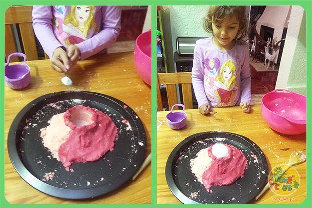 Make some erupting playdough volcanos using playdough, bicarb and vinigar. Click here to see how.