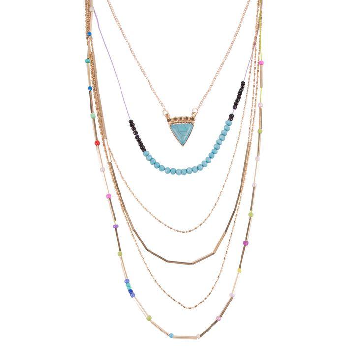 Collier comprenant plusieurs rangs triangle, perles et breloques.