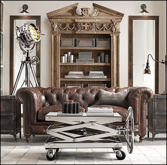 Industrial Chic Living Room With Metal And Gold
