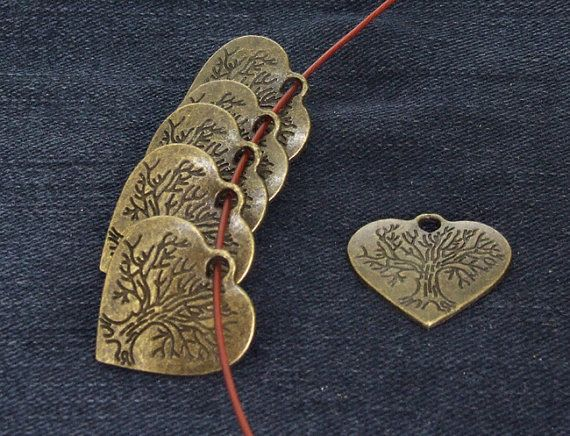 10 Beads Heart Tree Charm  bronze Plated Victorian by dongstones, $1.99