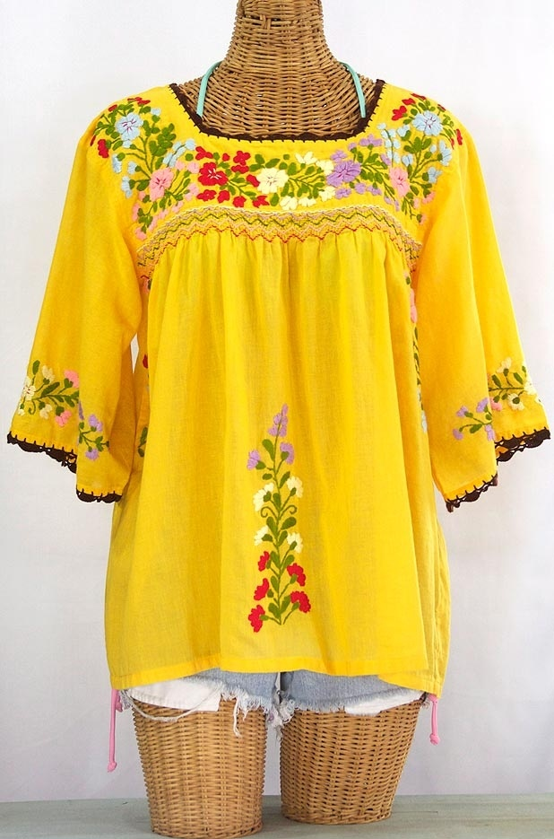 "Fiesta Colors! Just finished a ""La Marina"" Embroidered Mexican Peasant Blouse in Goldenrod with brown crochet trim, via SirenSirenSiren.com"